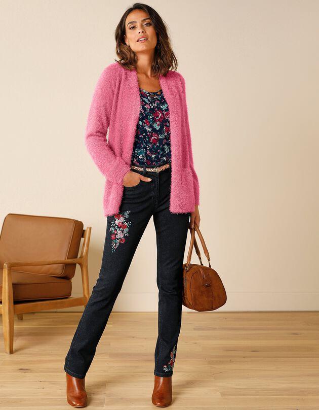 Lang vest in harig tricot, roze, hi-res
