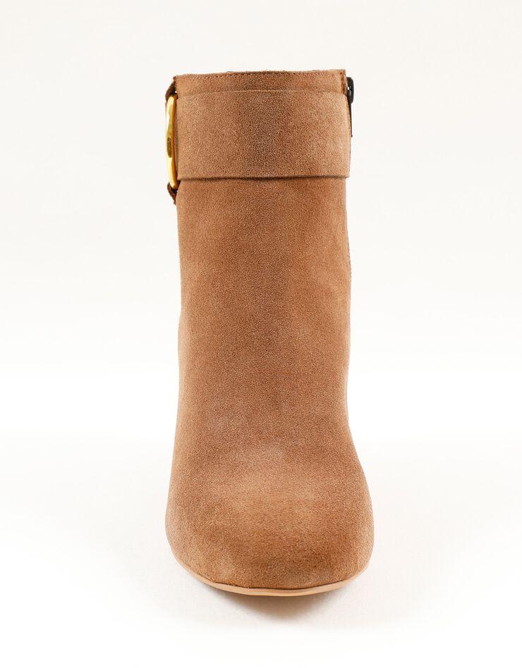 Boots in splitleer met gesp opzij, karamel, hi-res image number 3