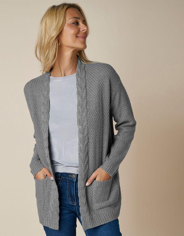 Vest met kabelmotieven en sjaalkraag, open te dragen, chiné grijs, hi-res