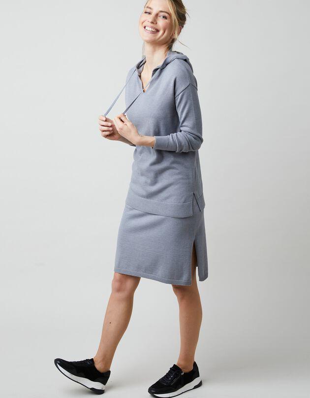 Trui met kap, in fijn tricot, met lange mouwen, chiné grijs, hi-res