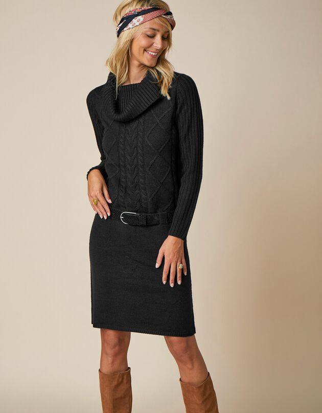 Trui-jurk met kabelmotieven en losse kraag - lange mouwen, zwart, hi-res