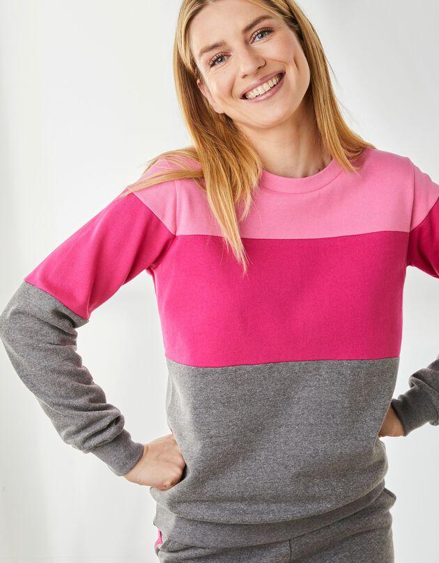 Sweater in geruwd molton met ronde hals, antraciet / roze, hi-res