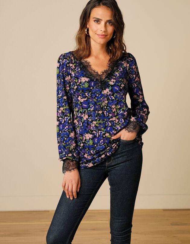 Tee-shirt imprimé fleuri col V à dentelle écailles, noir / bleu, hi-res