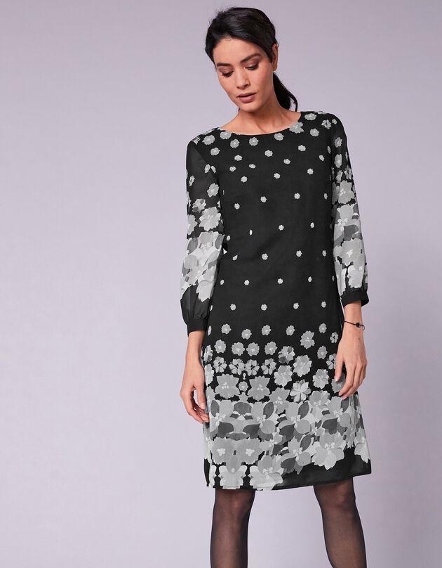 Robe base imprimée femme manches 3/4, noir / gris, hi-res