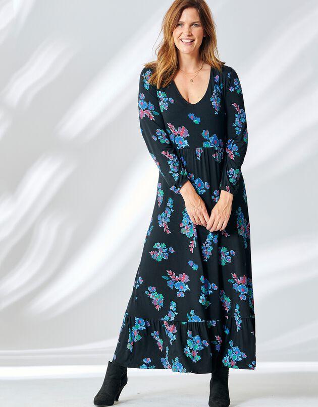 Robe longue imprimée, manches longues, noir / violet, hi-res