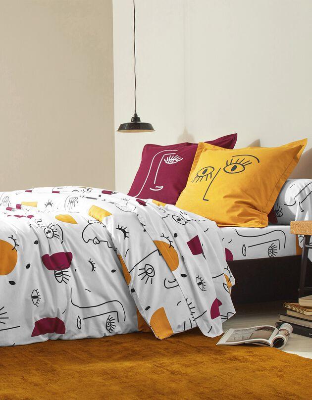 Linge de lit Vitaly coton à motifs visages, blanc, hi-res