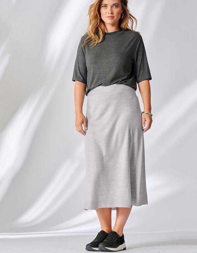 Jupe mi-longue fine maille toucher cachemire, gris chiné, hi-res
