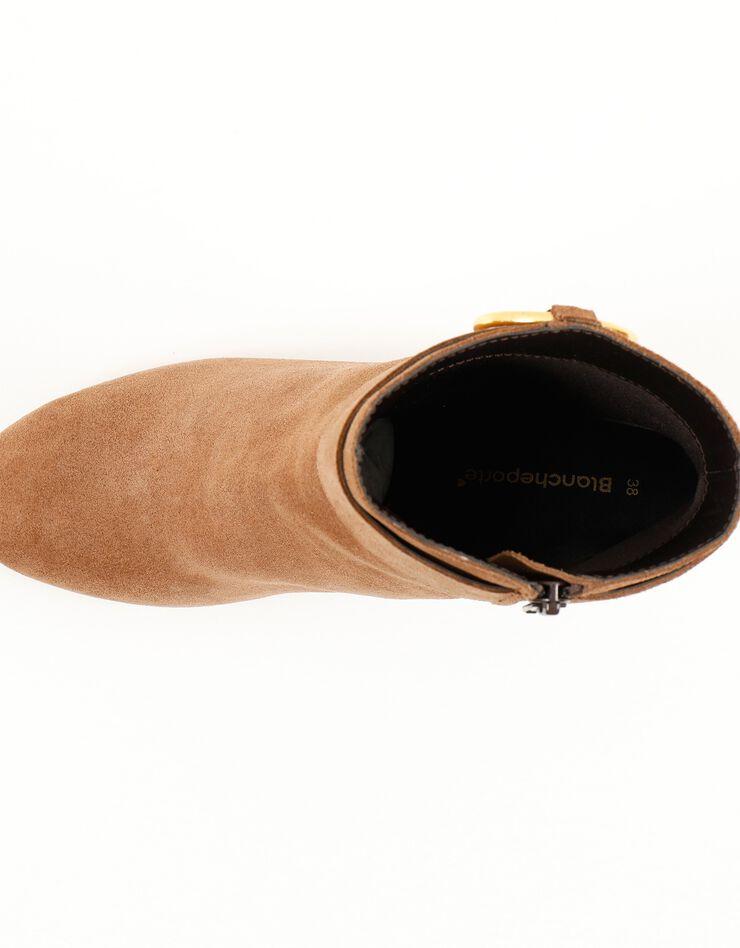 Boots in splitleer met gesp opzij, karamel, hi-res image number 2