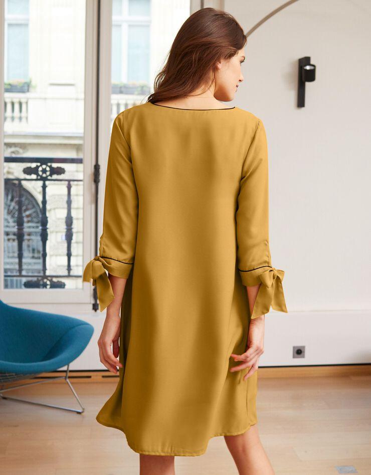 Uitlopende jurk met contrasterende biesjes, saffraangeel, hi-res image number 1