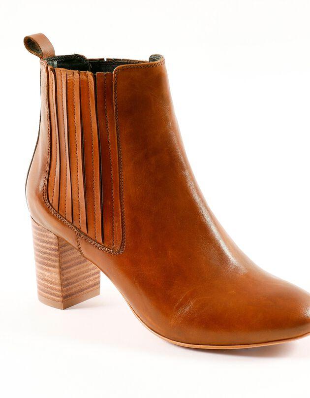 Leren boots met brede hak, karamel, hi-res