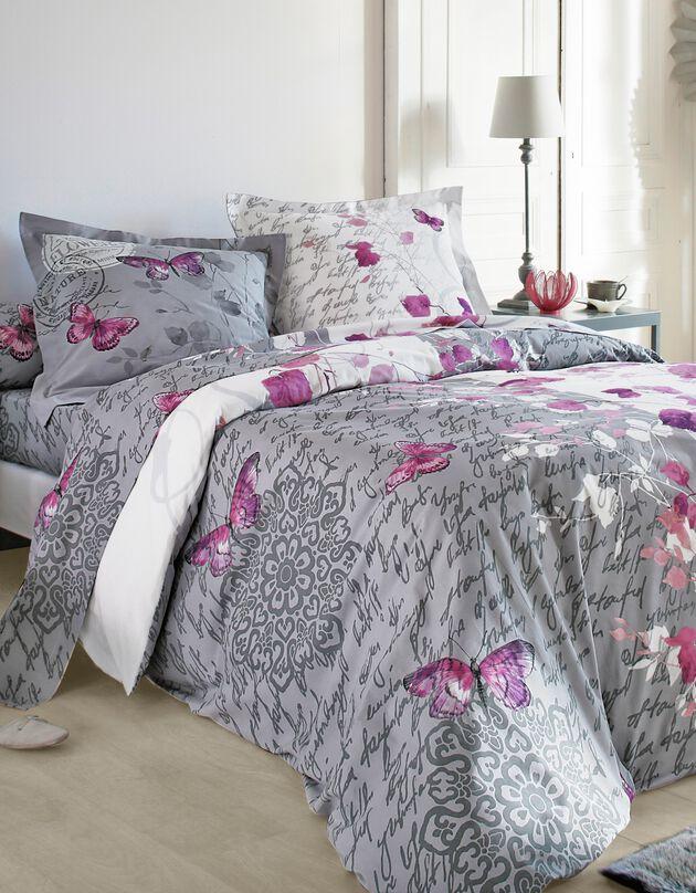 Linge de lit Célestine en coton imprimé fleurs et papillons, gris / parme, hi-res