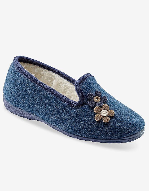 Pantoufles fleurs, bleu indigo, hi-res