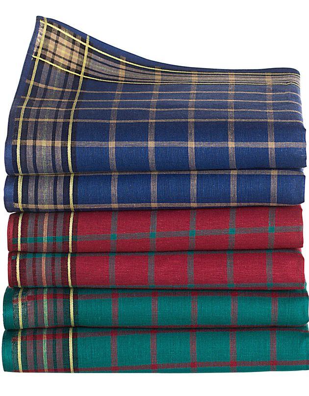 Mouchoir homme à carreaux couleurs - Lot de 6 ou 12, assortis, hi-res