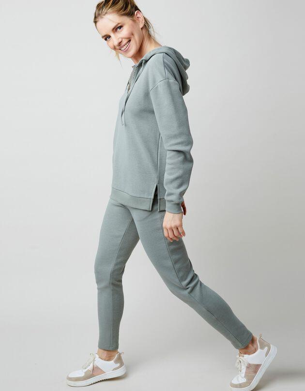 Sweater in piquétricot met kap en fantasie zigzagbiesje, kaki, hi-res