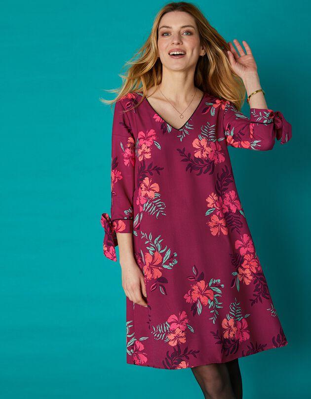Uitlopende, bedrukte jurk met contrasterende biesjes, pruim / koraal, hi-res