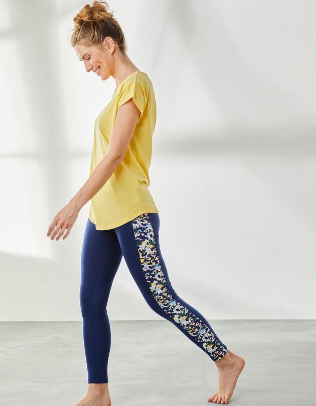 Legging bande imprimé exclusif coton stretch, indigo / blanc, hi-res