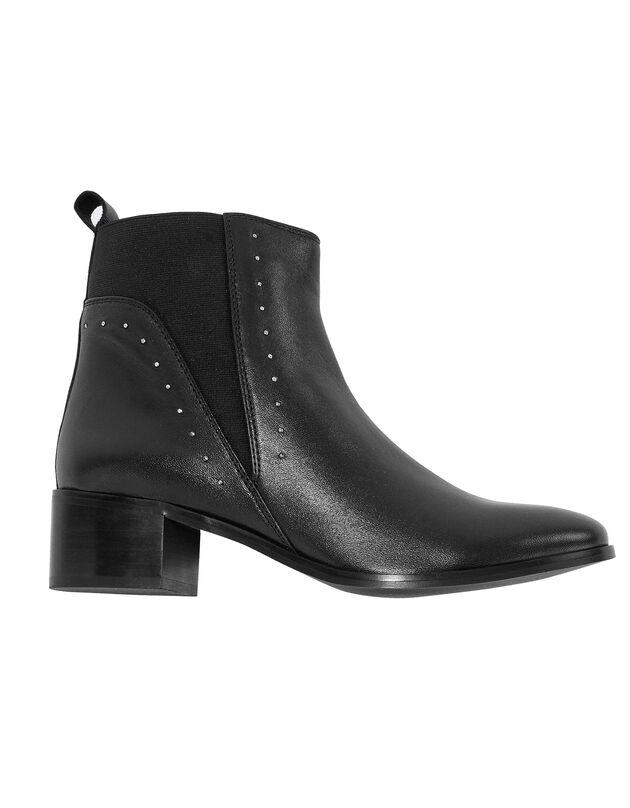 Boots cuir élastiquées cloutées - noir, noir, hi-res