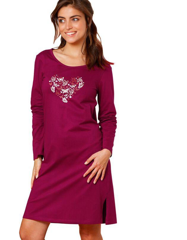 Kort nachthemd met lange mouwen en vlindermotief, kersenrood, hi-res