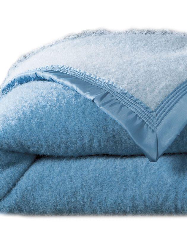 Couverture bicolore laine 730g/m2 Colombine®, bleu, hi-res