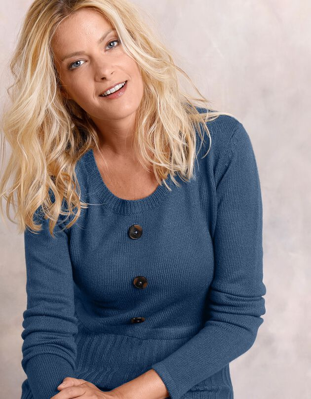 Robe pull boutonnée, bleu grisé, hi-res