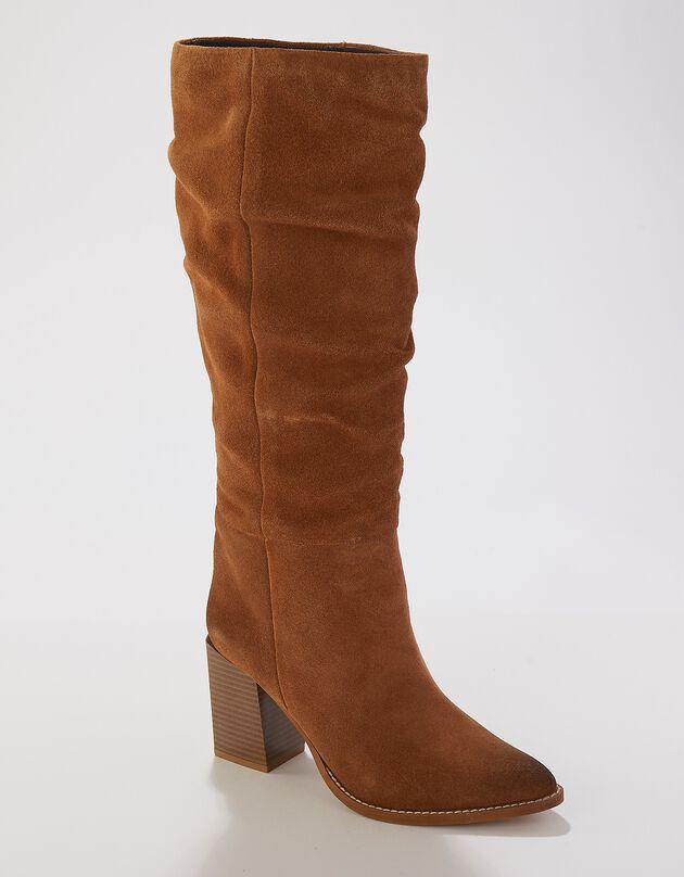 Leren laarzen met hak en plissé - dames, karamel, hi-res