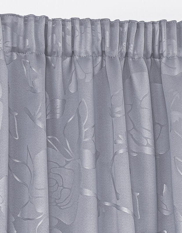 Rideau occultant damassé dessin floral finition galon fronceur, gris perle, hi-res