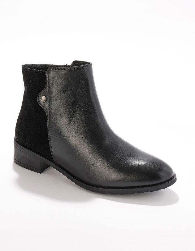 Boots cuir bi-matière détail rivet, noir, hi-res