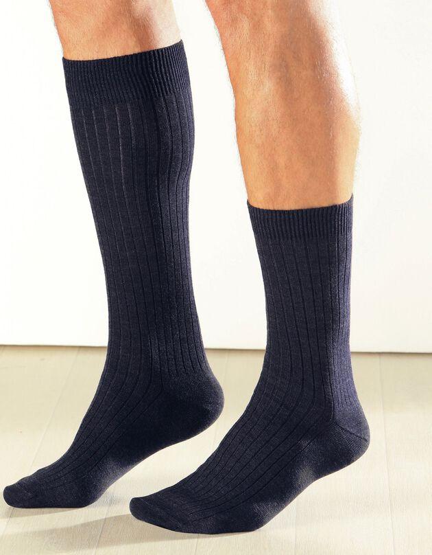 Chaussettes 90% laine - lot de 2 paires, marine, hi-res
