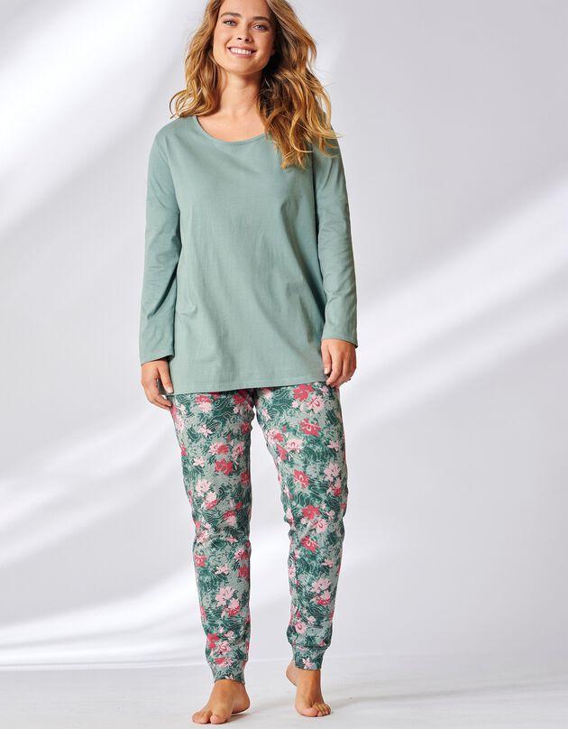 Pyjama imprimé fleuri tie and dye, vert amande, hi-res