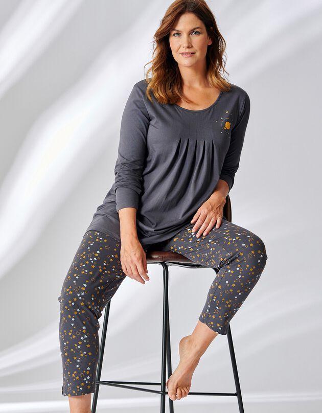 Pyjama tunique imprimé étoiles manches longues, anthracite / miel, hi-res