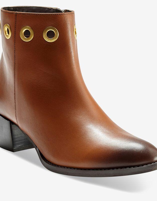 Leren boots met oogringetjes, donkerbeige, hi-res