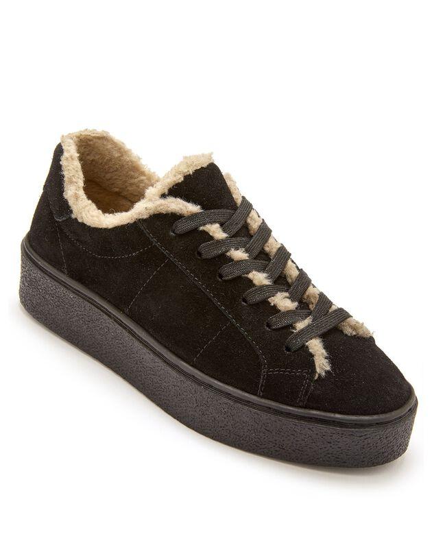Gevoerde sneakers in splitleer met comfortbreedte, dames - kaki, zwart, hi-res