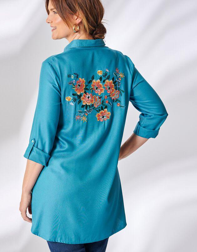 Lang hemd met borduursel achter, grijsblauw, hi-res