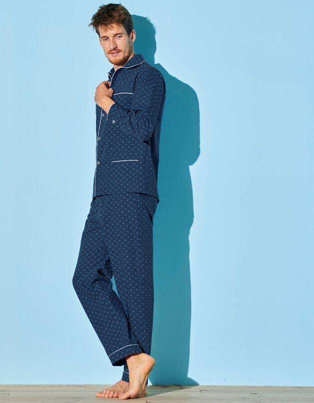 Pyjama imprimé - popeline polycoton, marine, hi-res