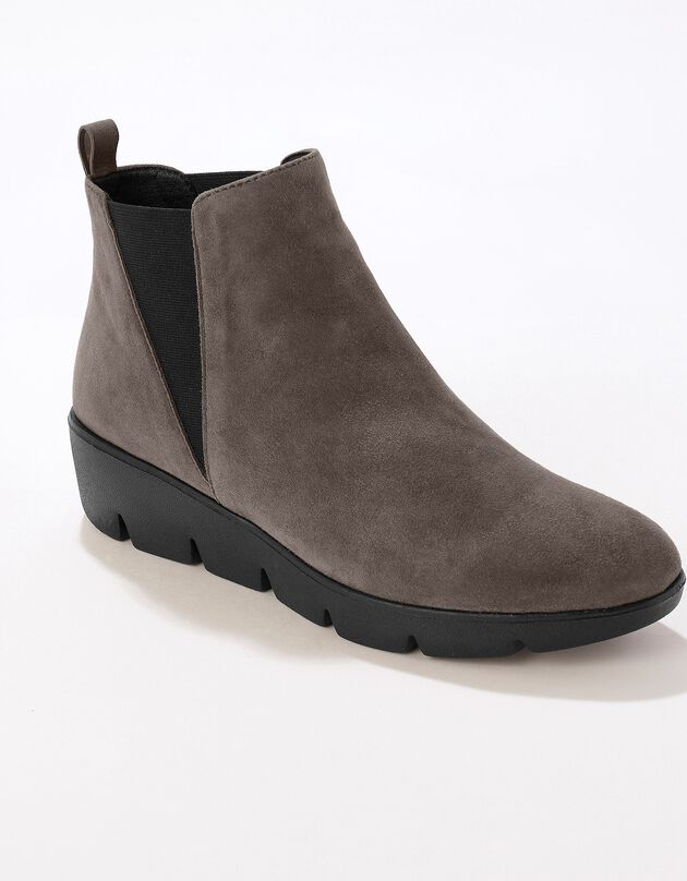 Boots compensées cuir souple certifié LWG - taupe, taupe, hi-res