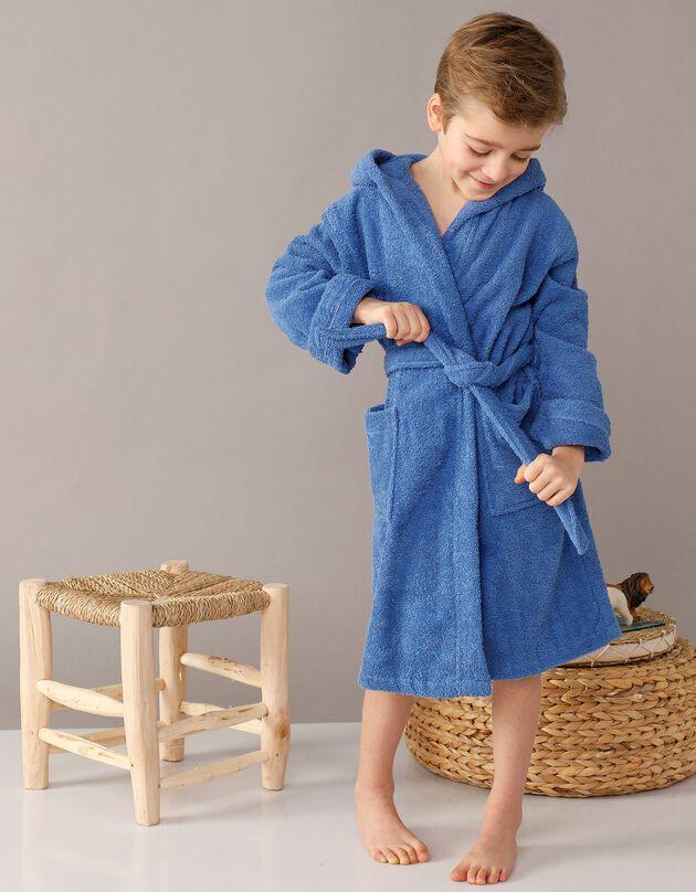 Peignoir enfant éponge bouclette à capuche, bleu dur, hi-res