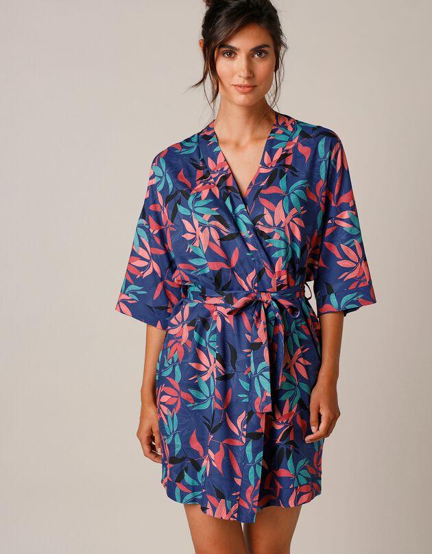 Peignoir fluide forme kimono imprimé exotique, ardoise, hi-res
