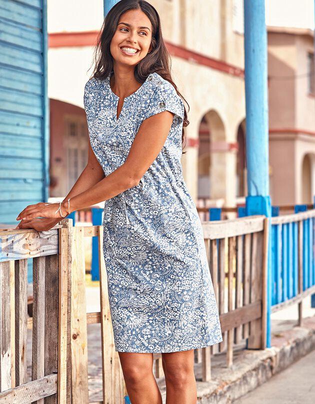 Bedrukte jurk met knoopsluiting, blauw / ecru, hi-res