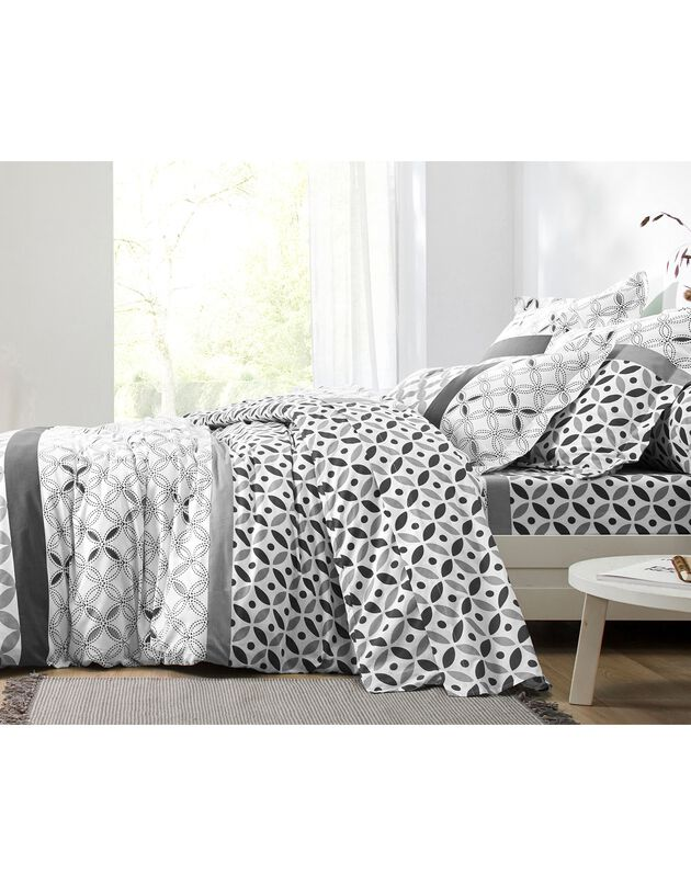 Linge de lit Marlow en coton motifs géométriques, gris / CARBONE, hi-res