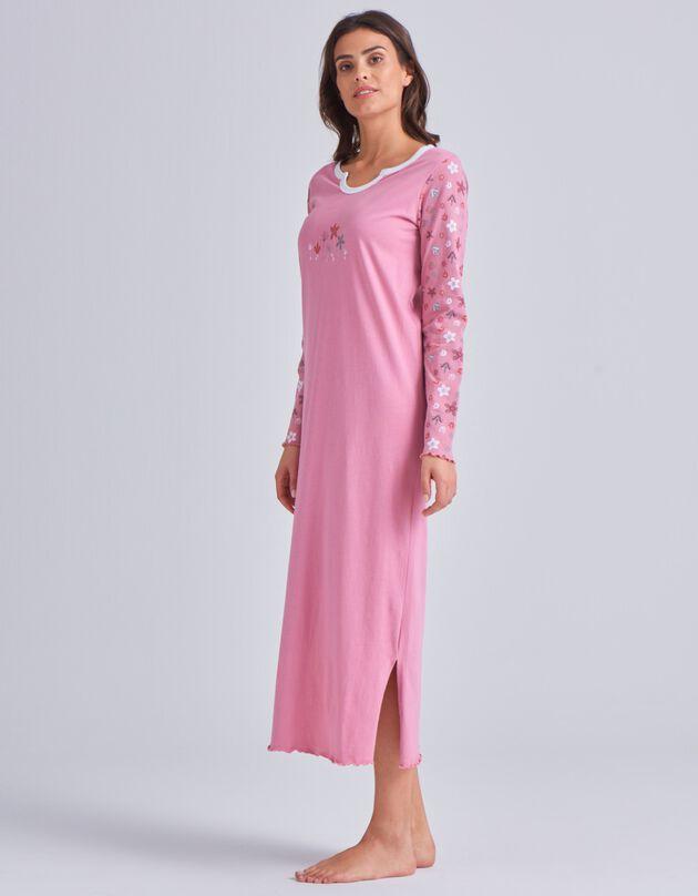 Chemise de nuit imprimée fleurs - manches longues, rose, hi-res