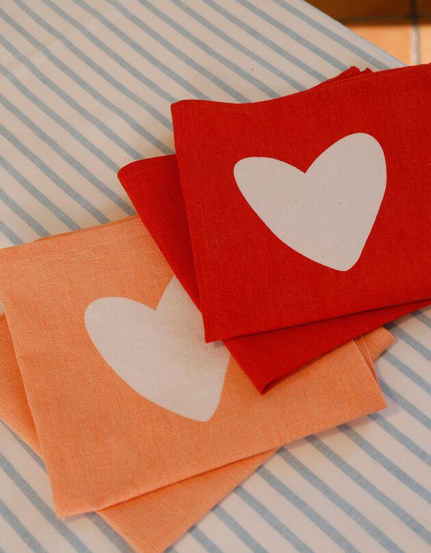 Serviette de table coton/lin - Lot de 4, rose + rouge, hi-res