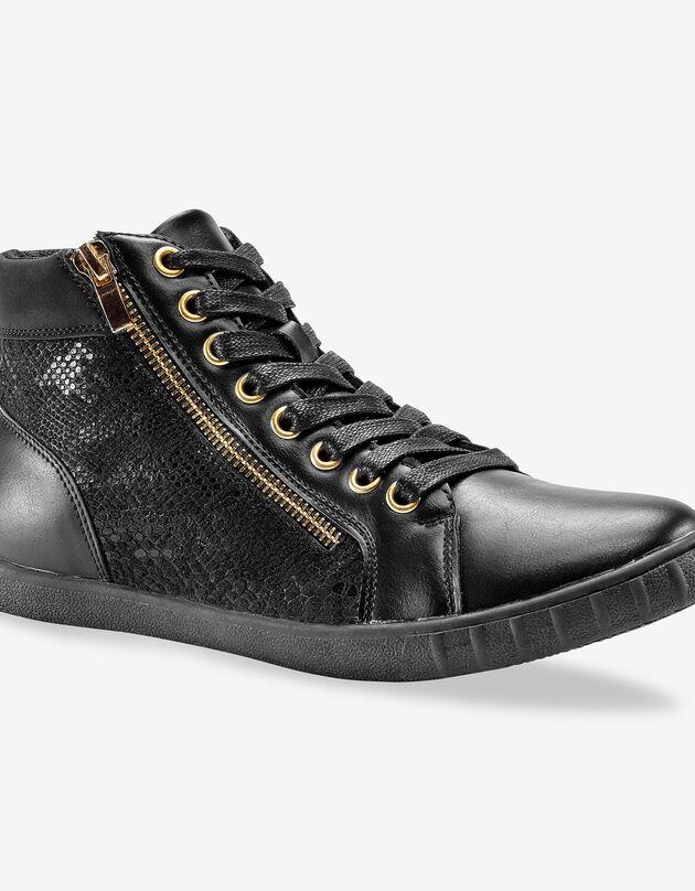 Sneakers met pythoneffect - zwart, zwart, hi-res