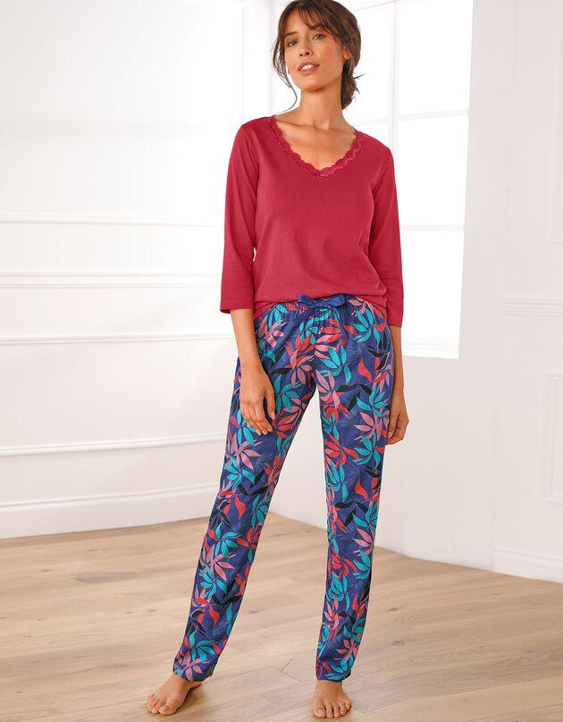 Pantalon pyjama fluide imprimé exotique, ardoise, hi-res