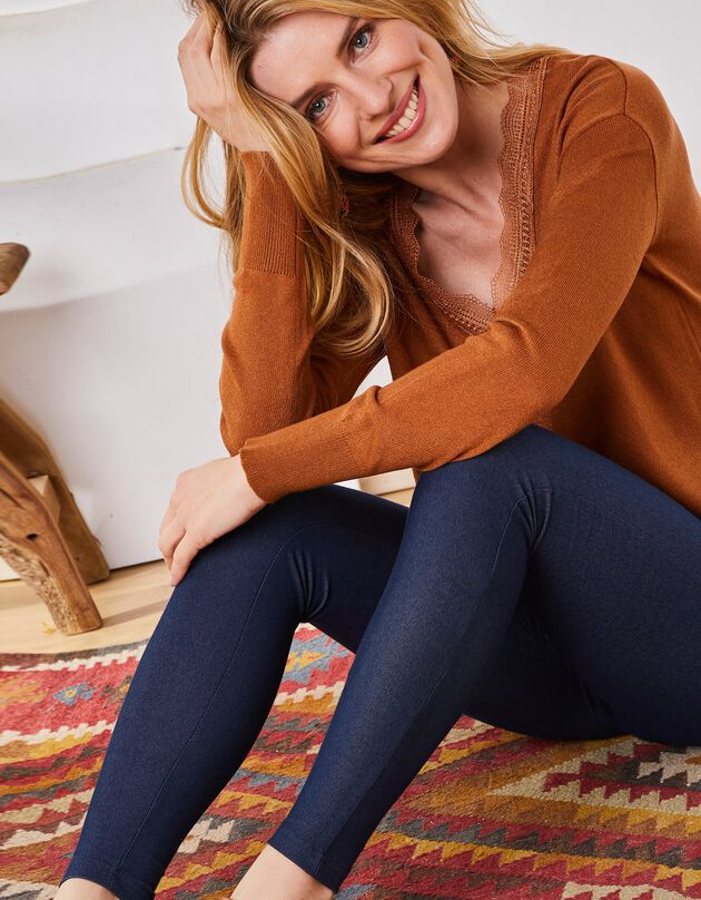 Legging maille jean confort, brut, hi-res