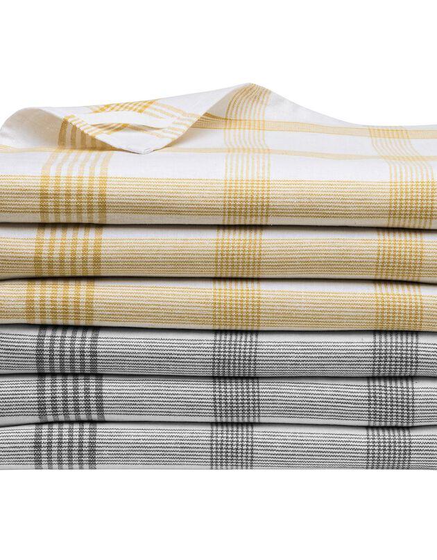 Torchons carreaux coton tissé teint - lots, curry / gris, hi-res