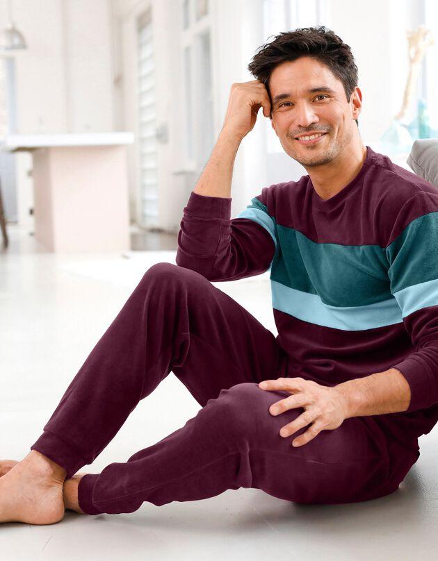 Pyjama tricolore velours manches longues, bordeaux, hi-res
