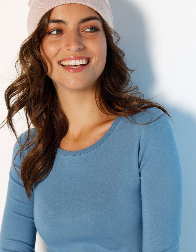 T-shirt met ronde hals in rekbare viscose, grijsblauw, hi-res