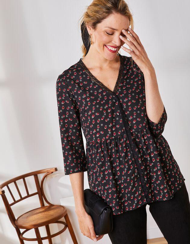 Bedrukte bloes, 3/4-mouwen, zwart / bordeaux, hi-res