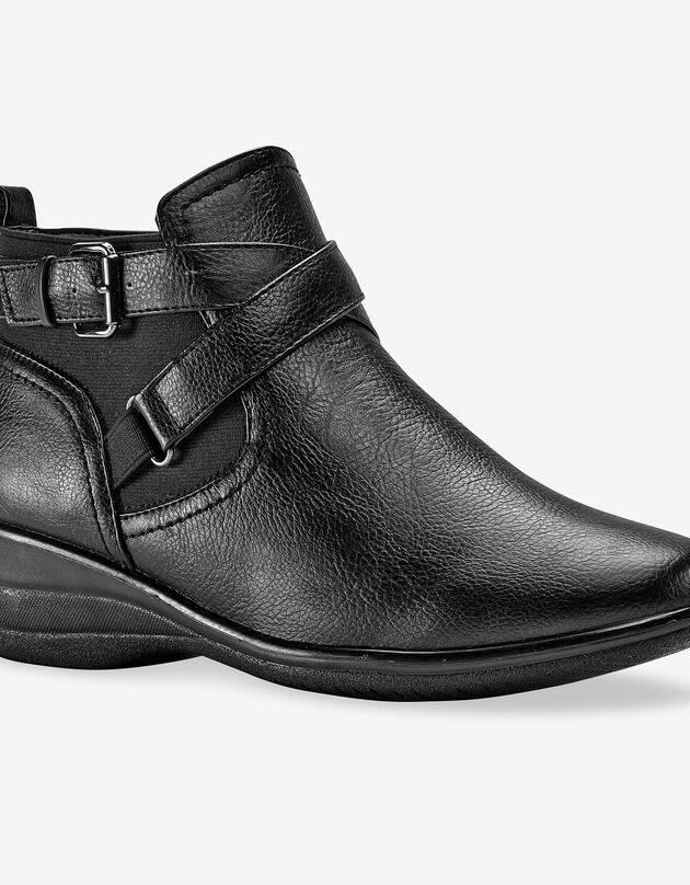 Comfortabele low-boots met sleehak en gesp, zwart, hi-res