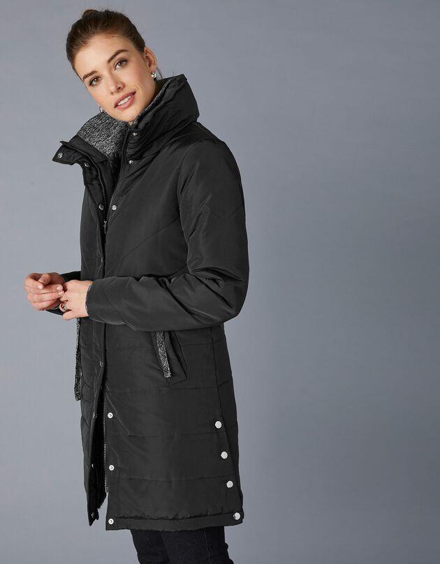 Lange waterafstotende en gematelasseerde jas, zwart, hi-res